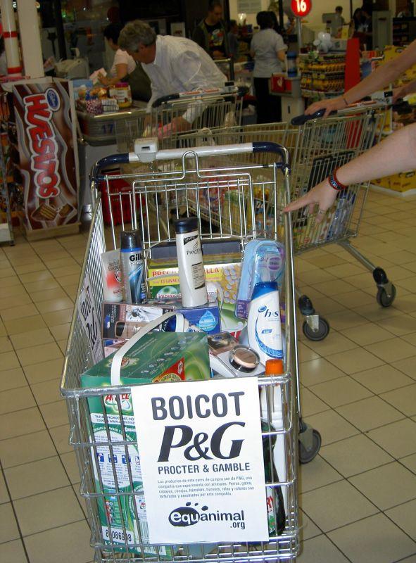 Foto de la campaña de boicot a Procter and Gamble de Equanimal